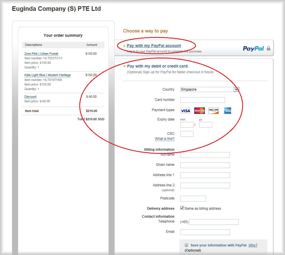 Paypal payment without an account